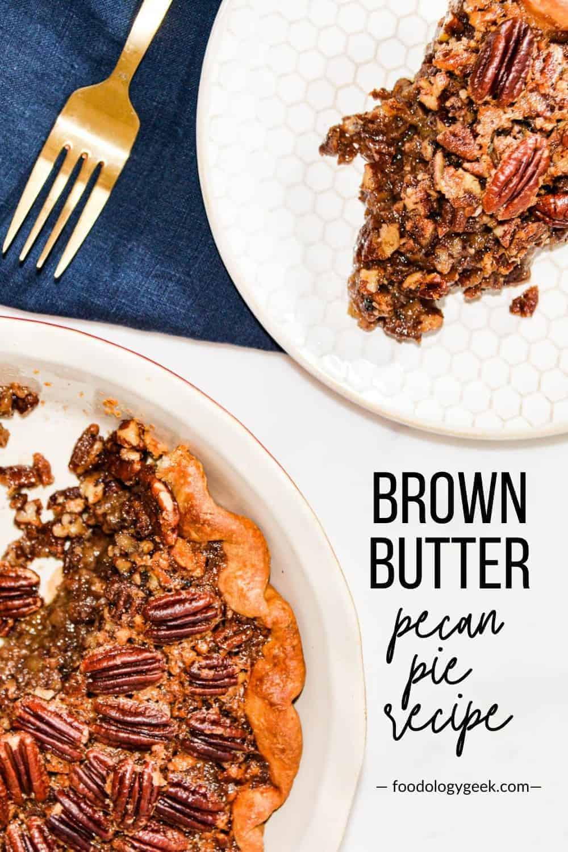 brown butter pecan pie recipe pinterest image