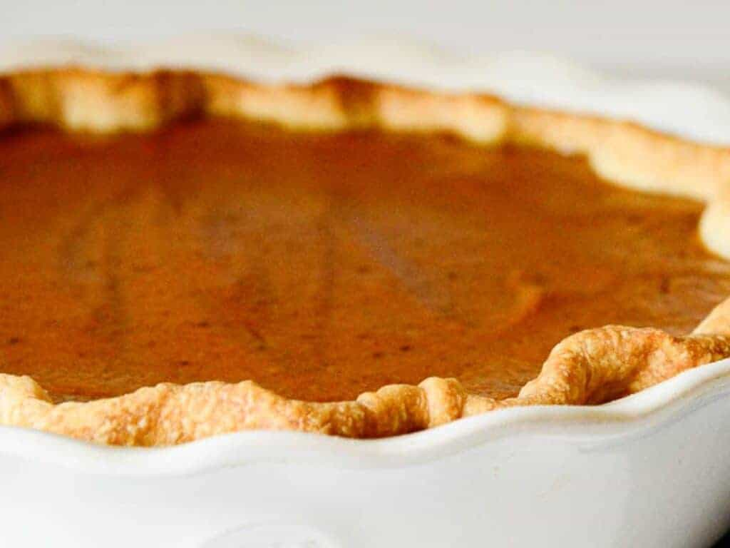 the pie crust should be golden brown and the pumpkin filling just slightly jiggly