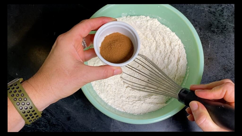 add the pumpkin spice to the flour and whisk