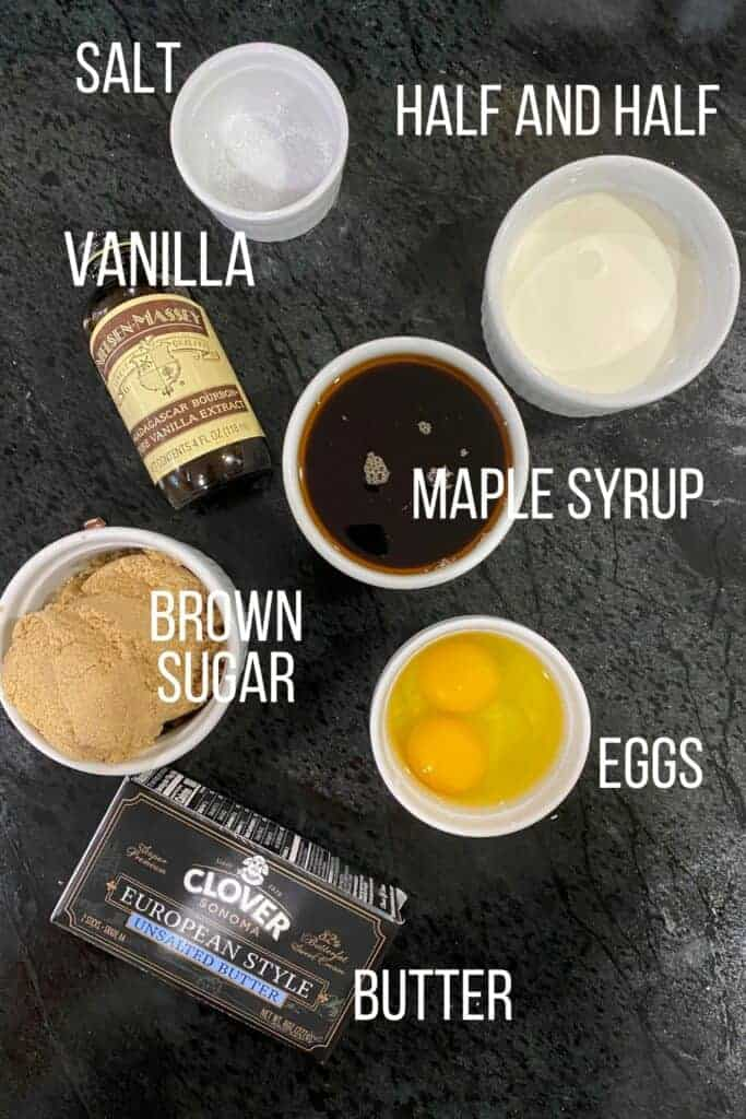 Ingredients you'll need for pecan pie.