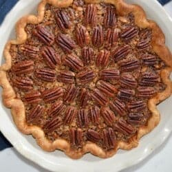 Pecan pie recipe in a an emile henry pie dish