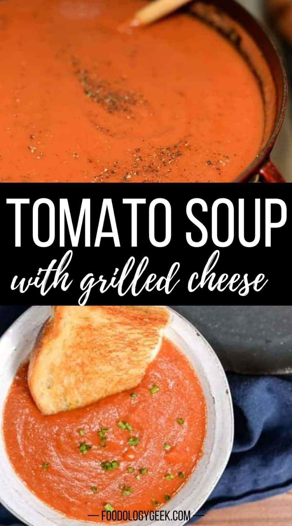 The easy tomato soup is made with canned tomatoes, fresh herbs, and broth. Top with a little creme fraiche and serve with grilled cheese.