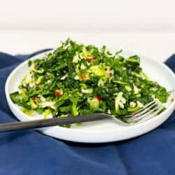 fall salad recipe with kale and brussels sprouts, apples, pecorino cheese, and a dijon vinaigrette