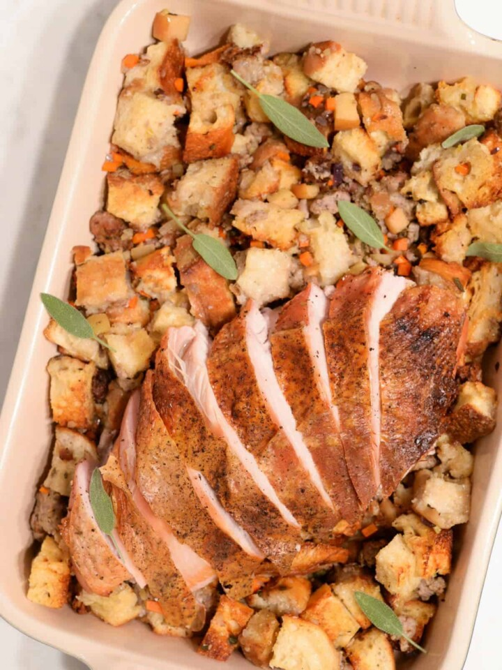 oven roasted turkey breast with sausage stuffing