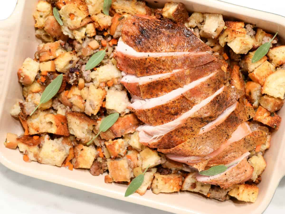 roasted turkey breast with sausage and apple stuffing
