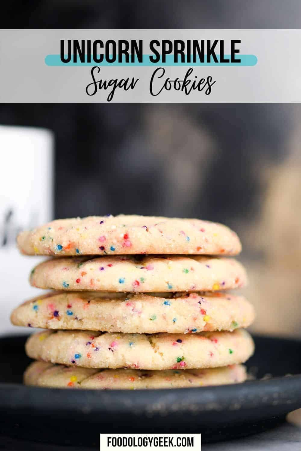 unicorn sprinkle sugar cookies served with a cup of coffee
