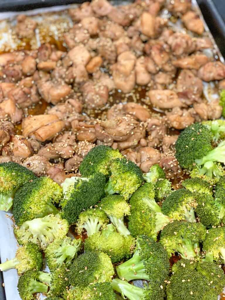 Sessame broccoli and chicken on a sheetpan