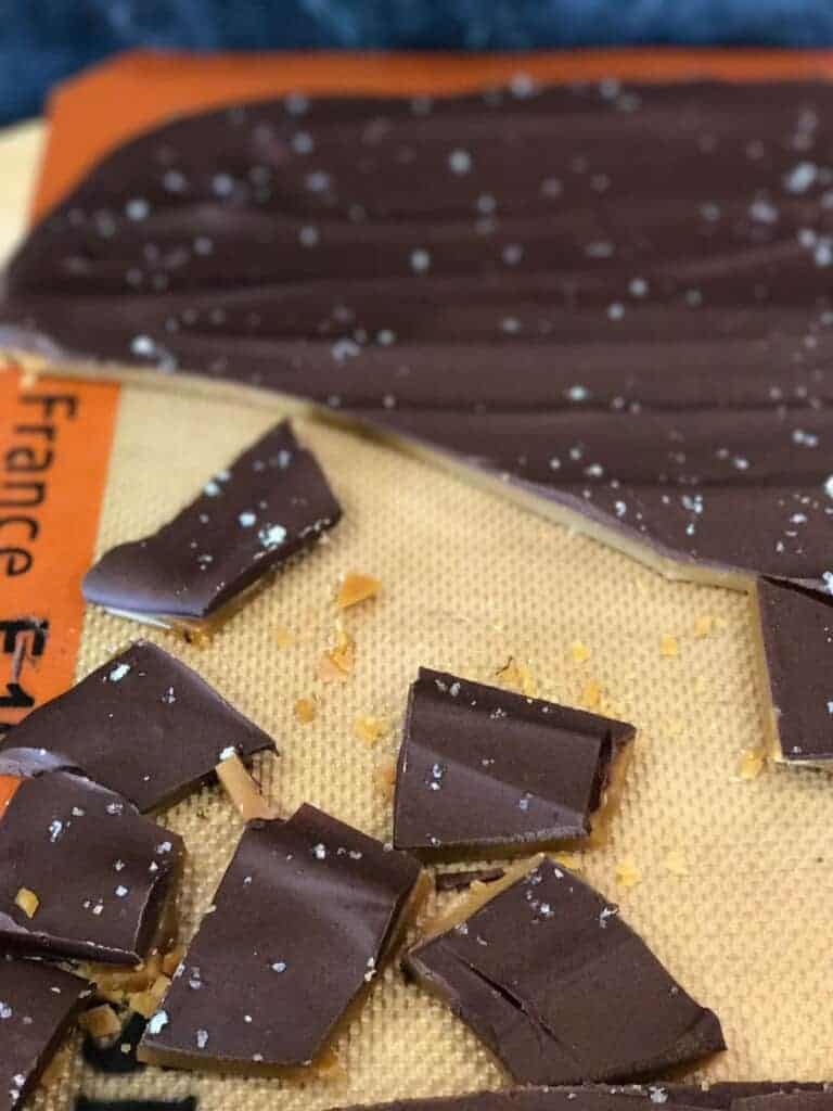 butter toffee cut into pieces