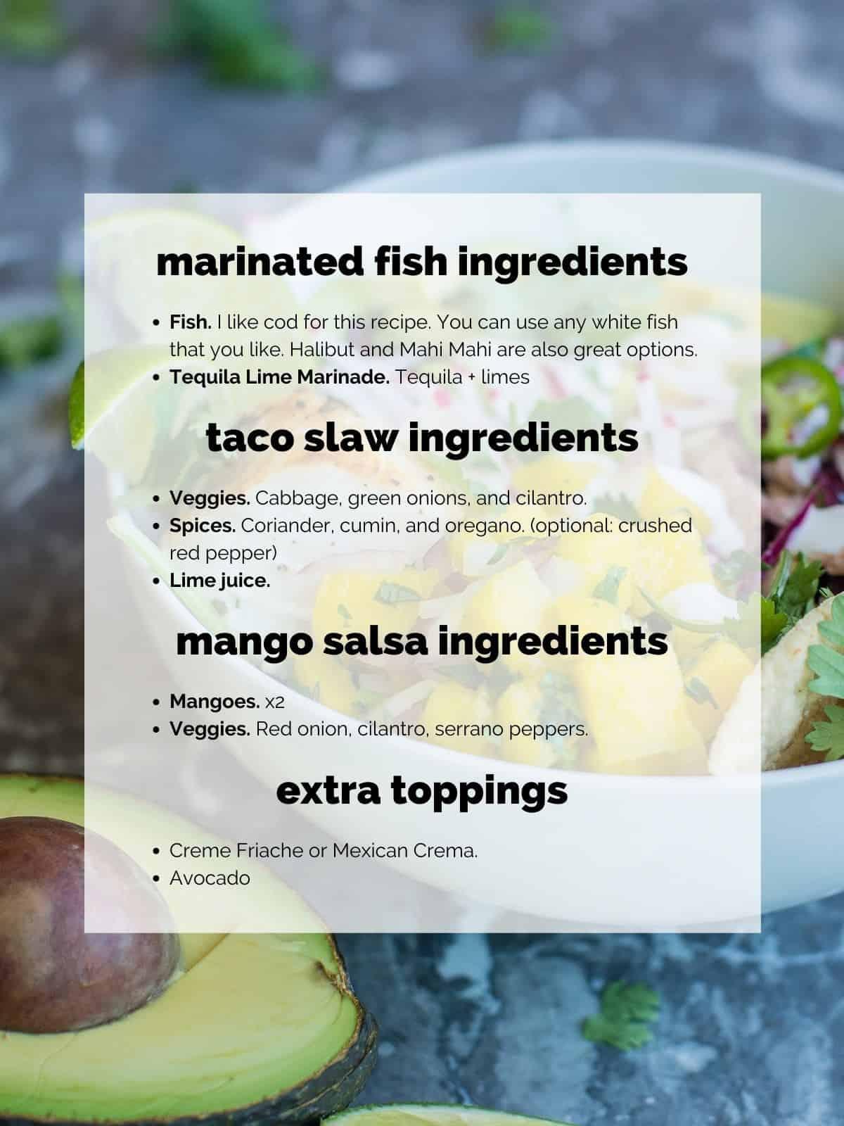 fish taco bowl ingredients