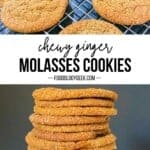 chewy ginger molasses cookies pinterest image