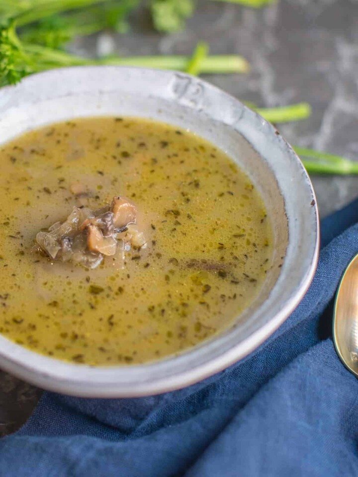homemade cream of mushroom soup dairy free in a white bowl