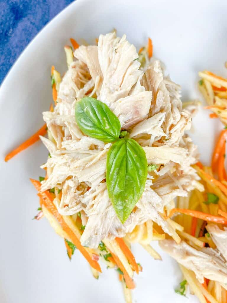 shredded chicken stacks with sweet potatoes and apple slaw