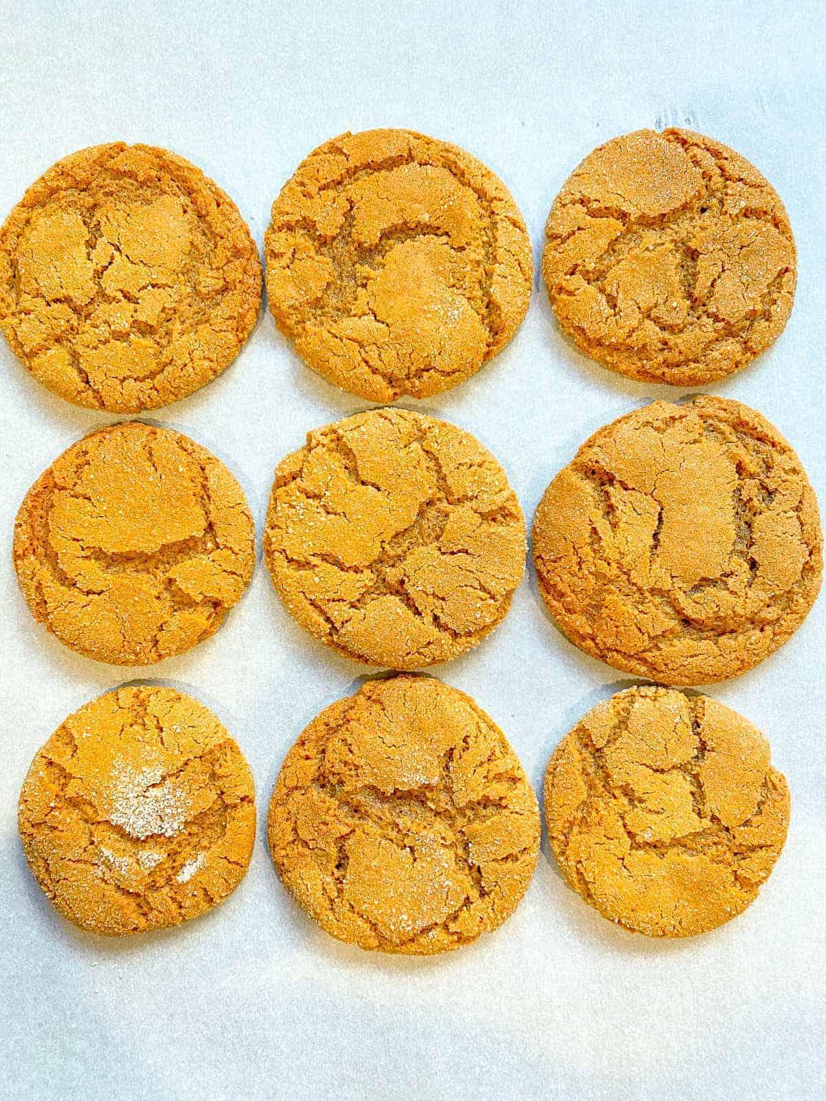 cookie tray of molasses sugar cookies