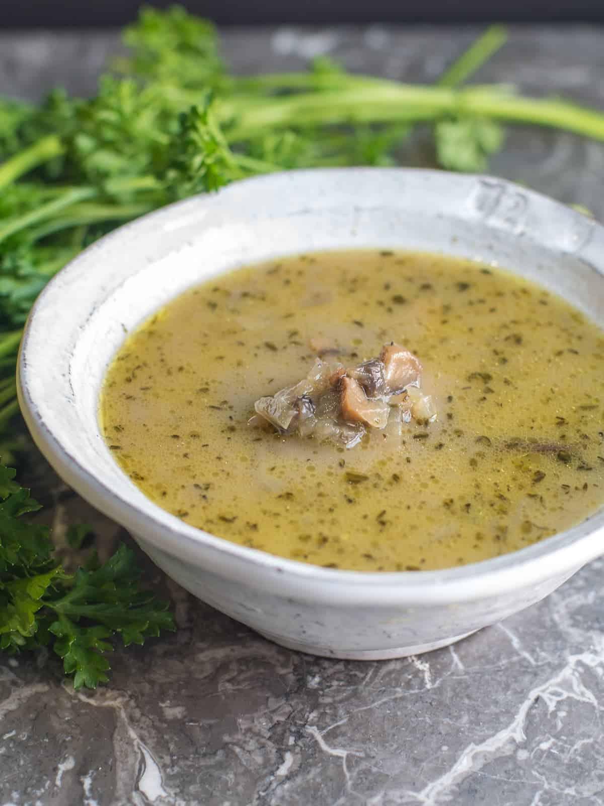 paleo cream of mushroom soup recipe in a bowl