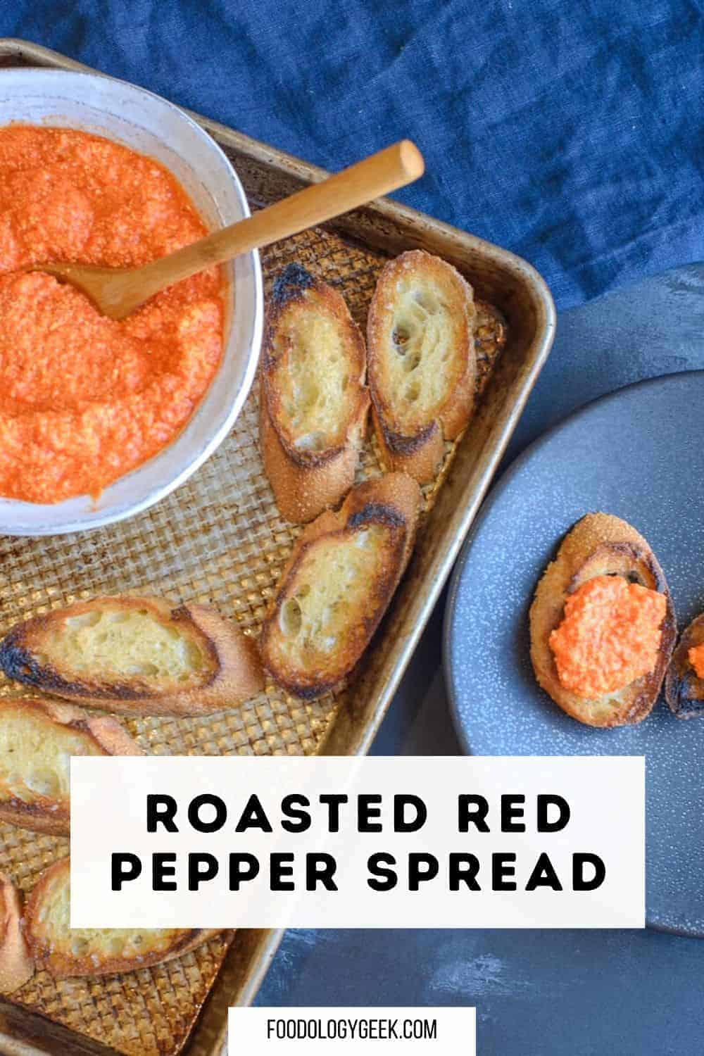easy roasted red pepper and feta spread served with crostini