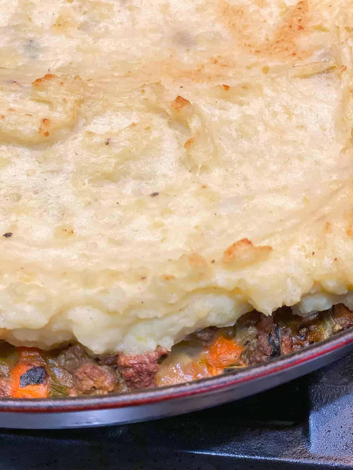 shepherd's pie with mashed potatoes, right out of the oven.