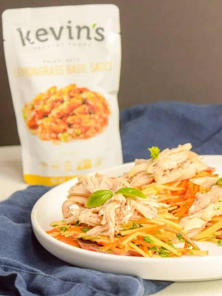 shredded chicken made with kevin's lemongrass basil sauce