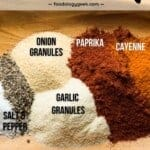 homemade buffalo seasoning blend ingredients on a wooden plate