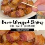 keto bacon wrapped shrimp stacked on a plate