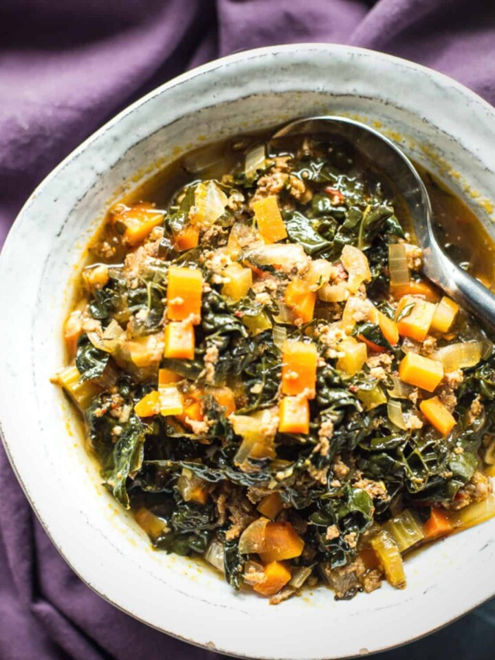 spicy chorizo and kale soup