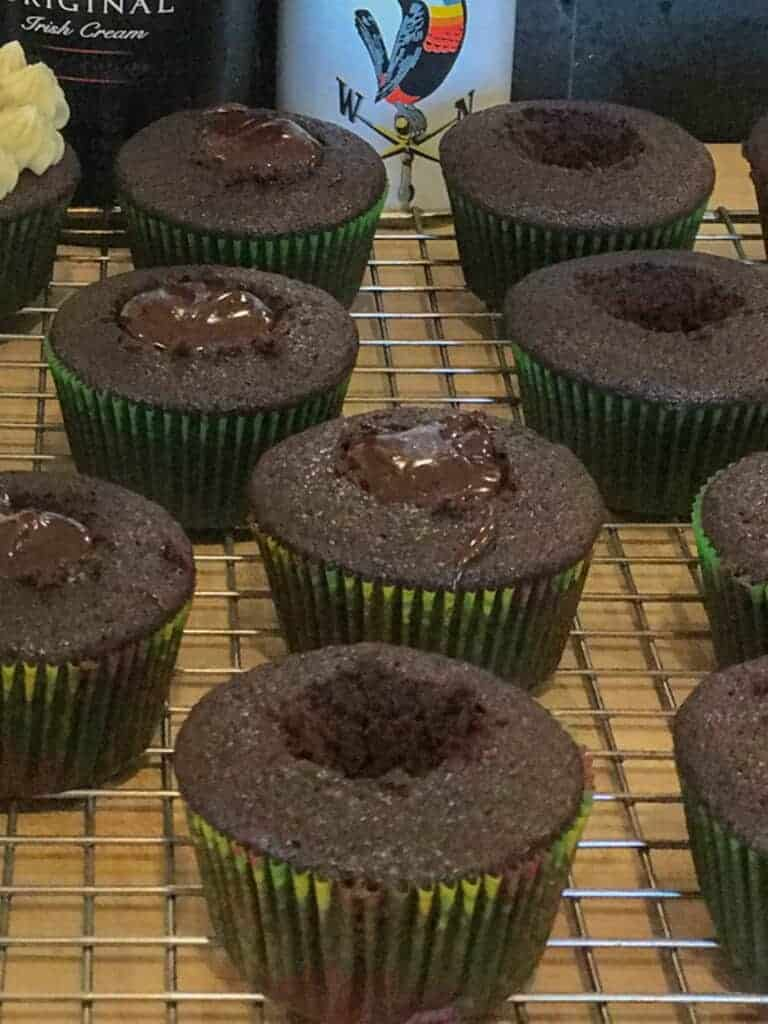 guinness cupcakes cored and filled with Jamesons whiskey ganache