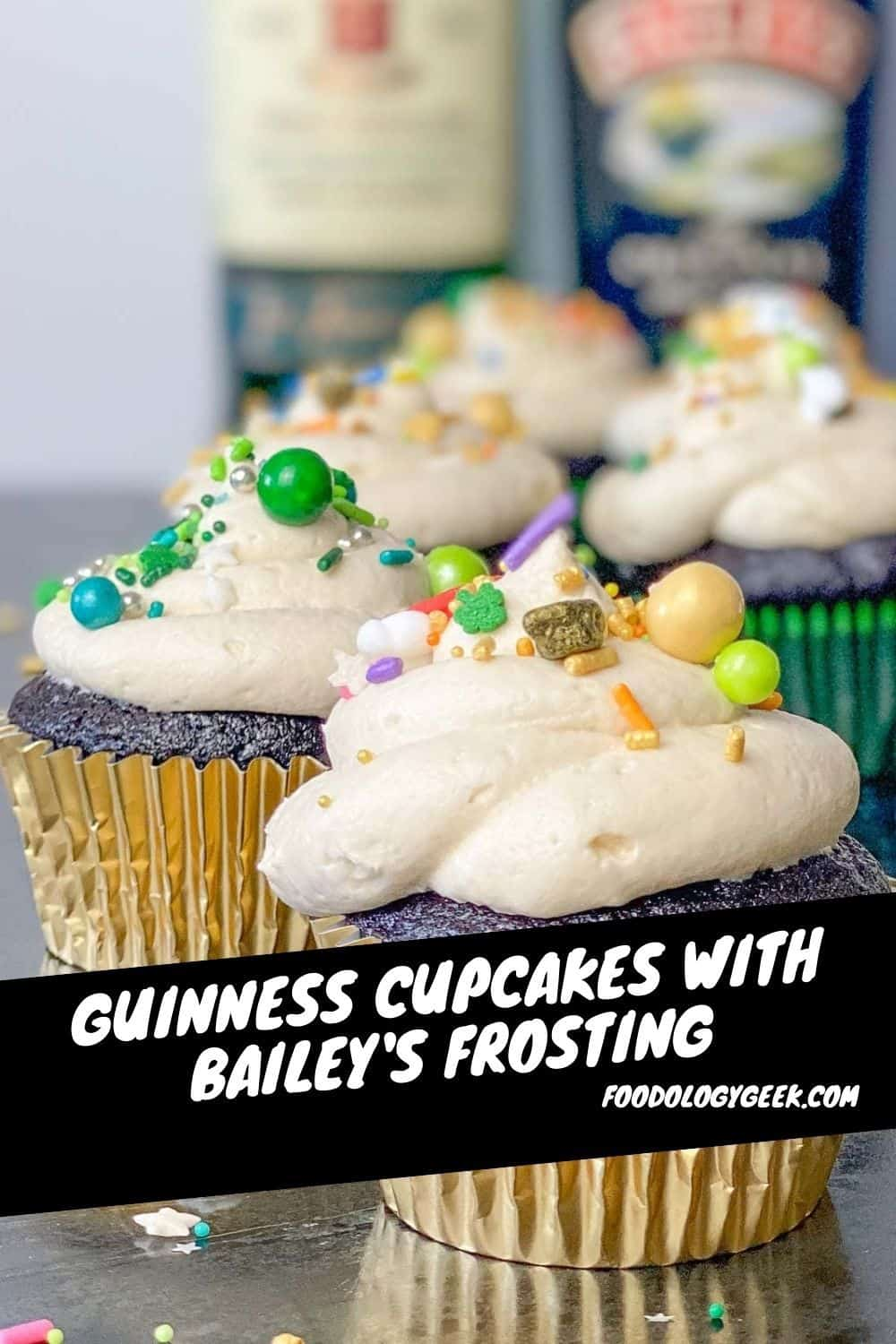 This cupcake is affectionately named after the boozy Irish Car Bomb drink made with Guinness Stout, Jameson Whiskey, and Baileys Irish Cream.