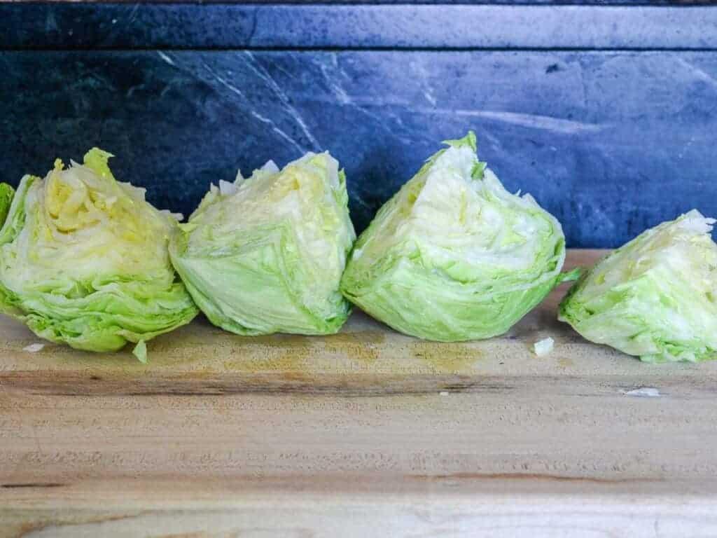 then cut the lettuce halves in half