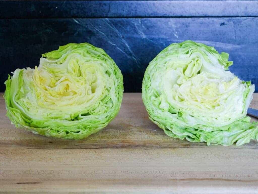 cut the lettuce in half
