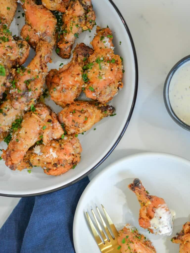 garlic parmesan wings with ranch
