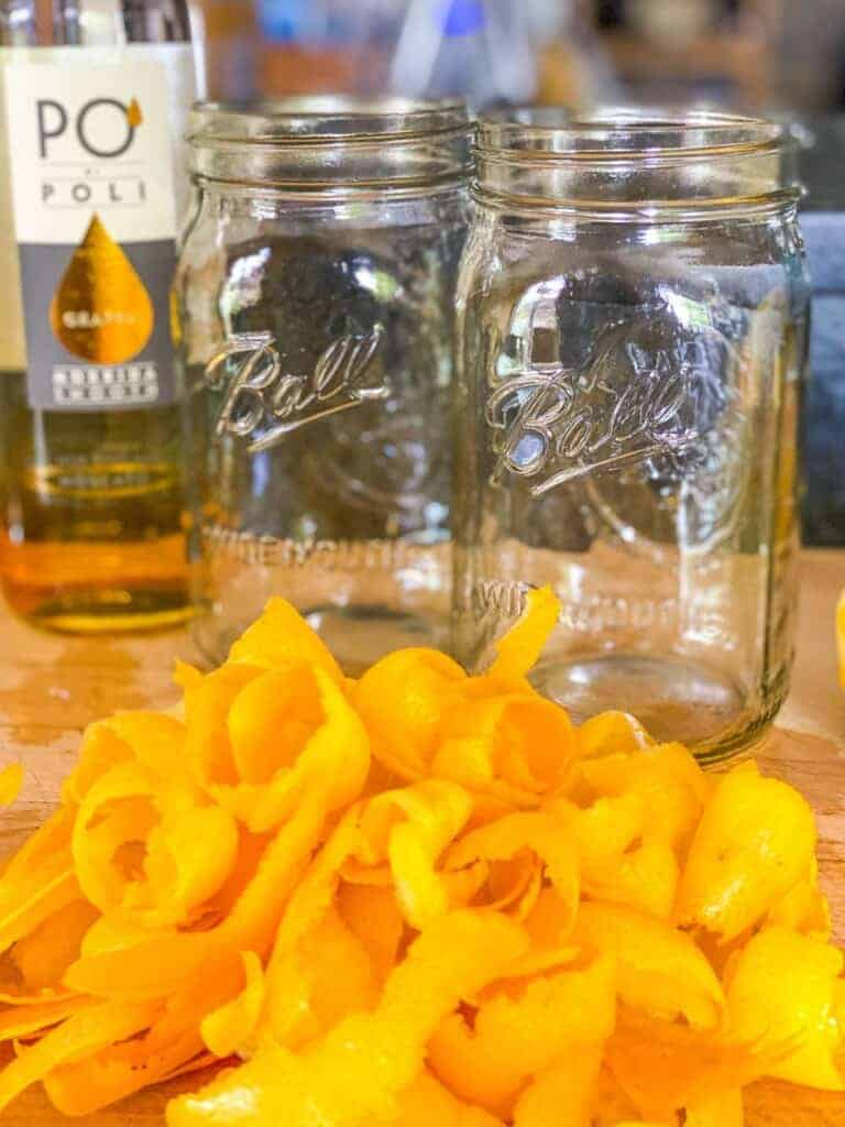 lemon peels ready to make homemade limoncello