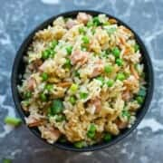 spam fried rice with frozen peas and green onions
