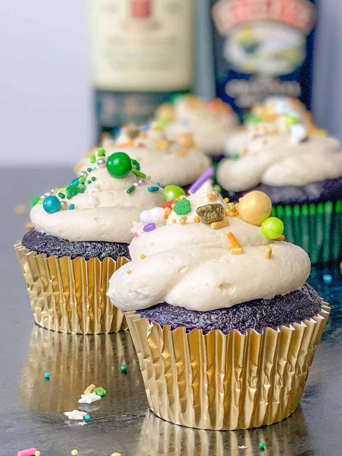 Guinness cupcakes with irish whiskey filling and baileys frosting