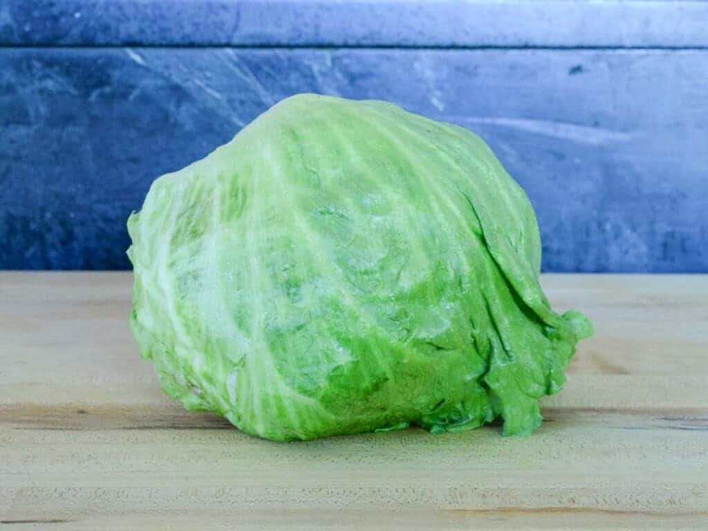start with a fresh head of iceberg lettuce, rinse and pat dry