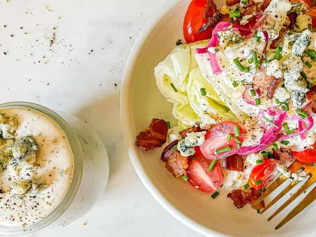 easy wedge salad recipe served with blue cheese dressing