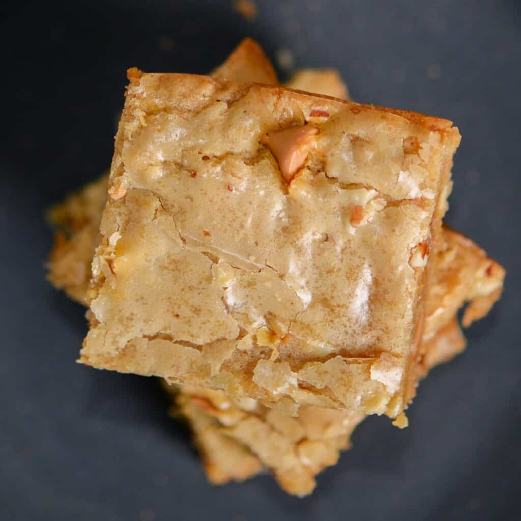 Close up of blondies and their chewy but crackly top