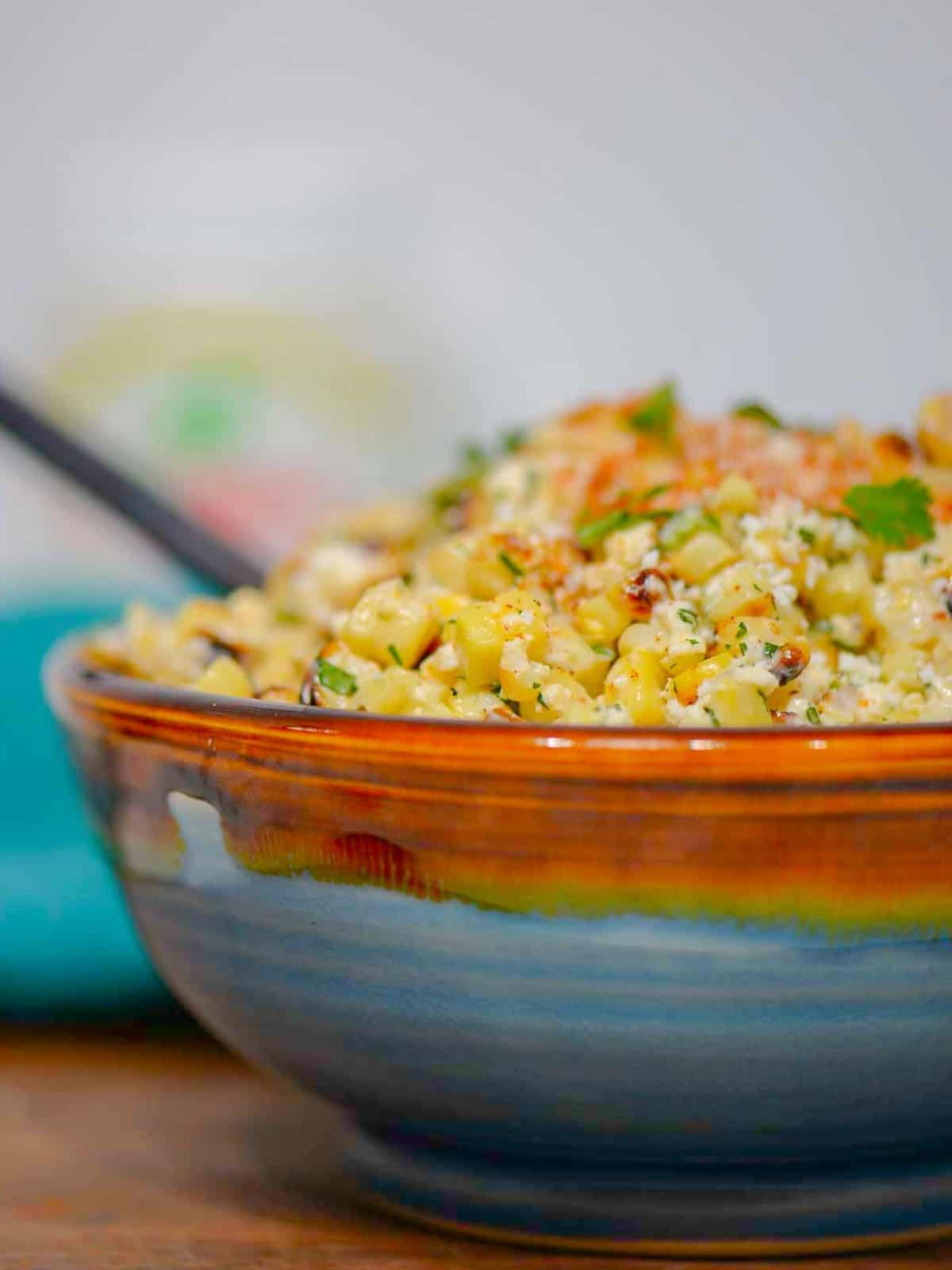 esquites otherwise known as mexican street corn in a cup