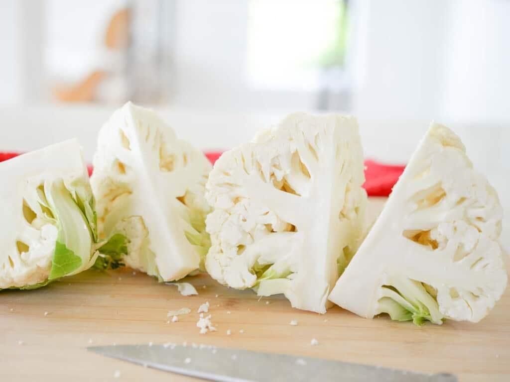 a head of cauliflower, cut in quarter
