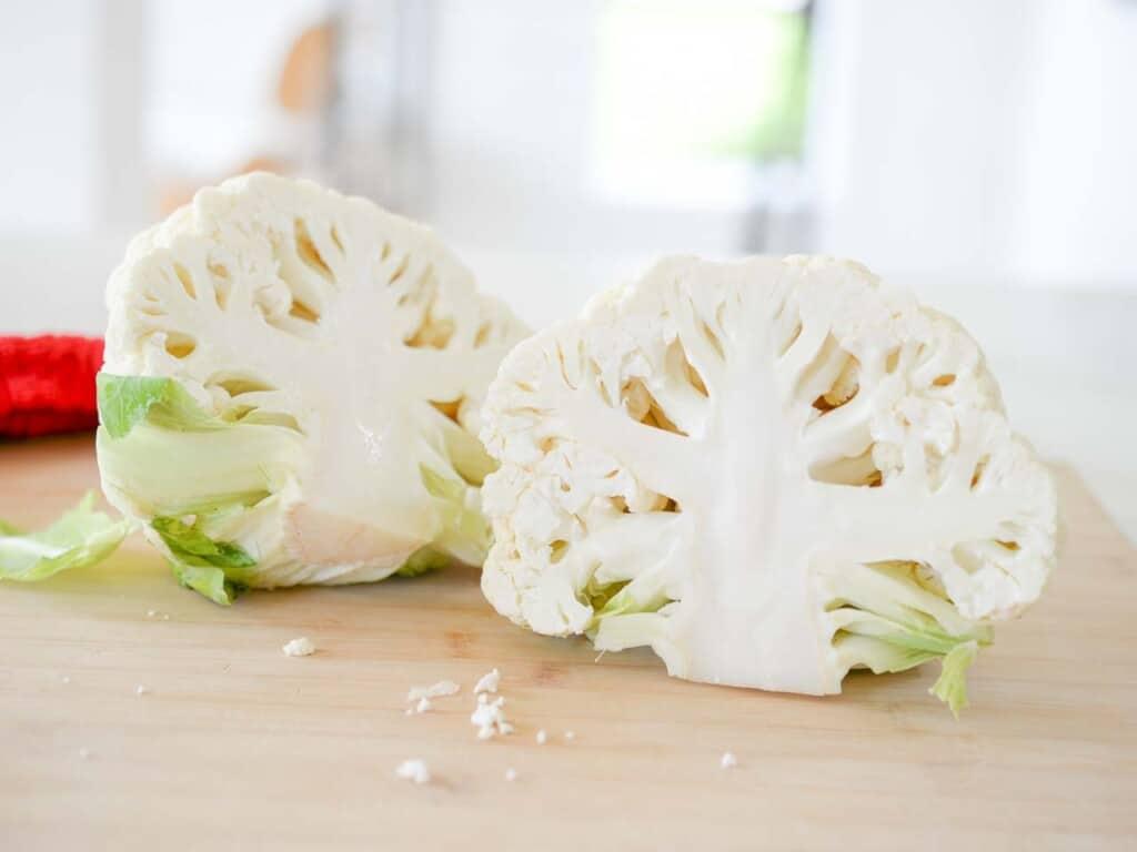 a head of cauliflower, cut in half