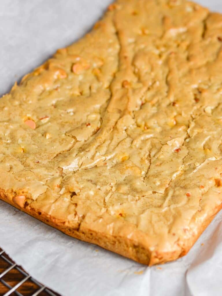 blonde brownies fresh from the oven