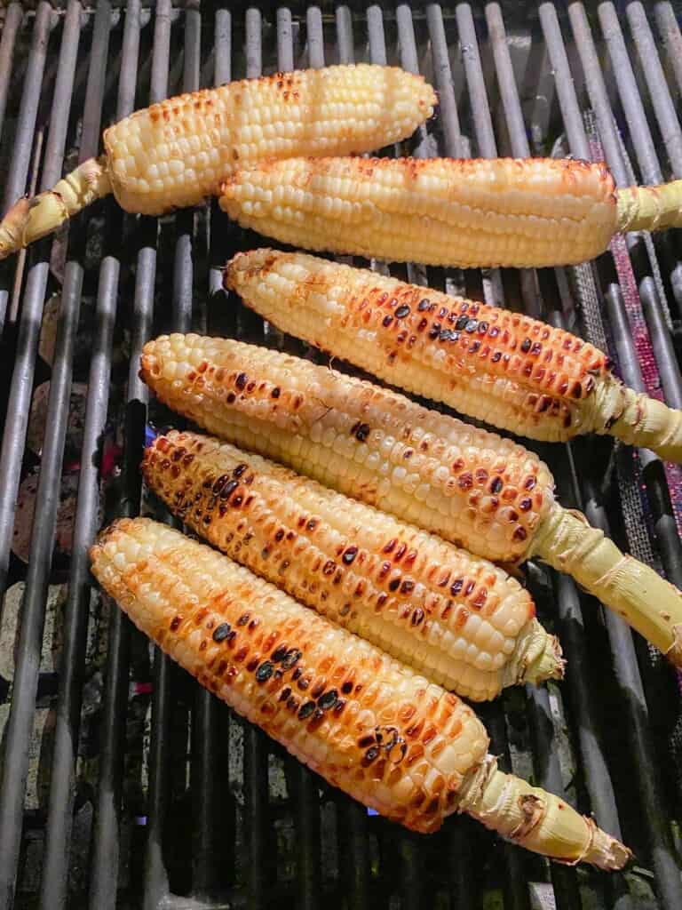 charred grilled corn on the cob.