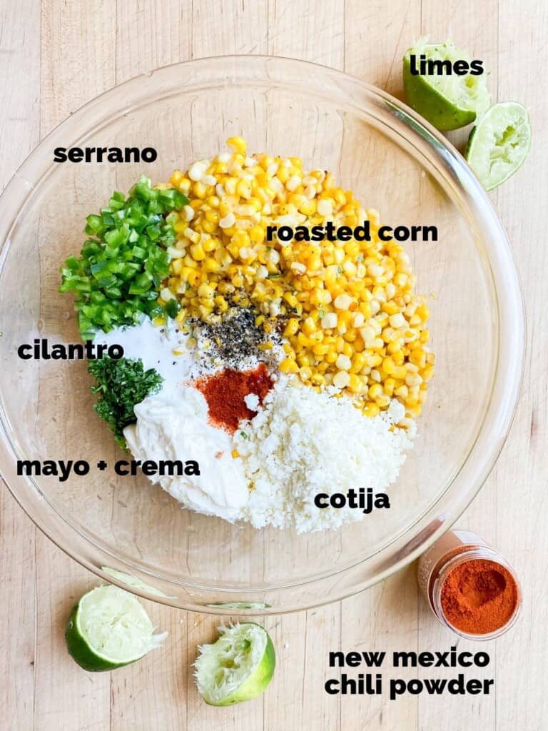 ingredients for mexican corn salad (esquites)