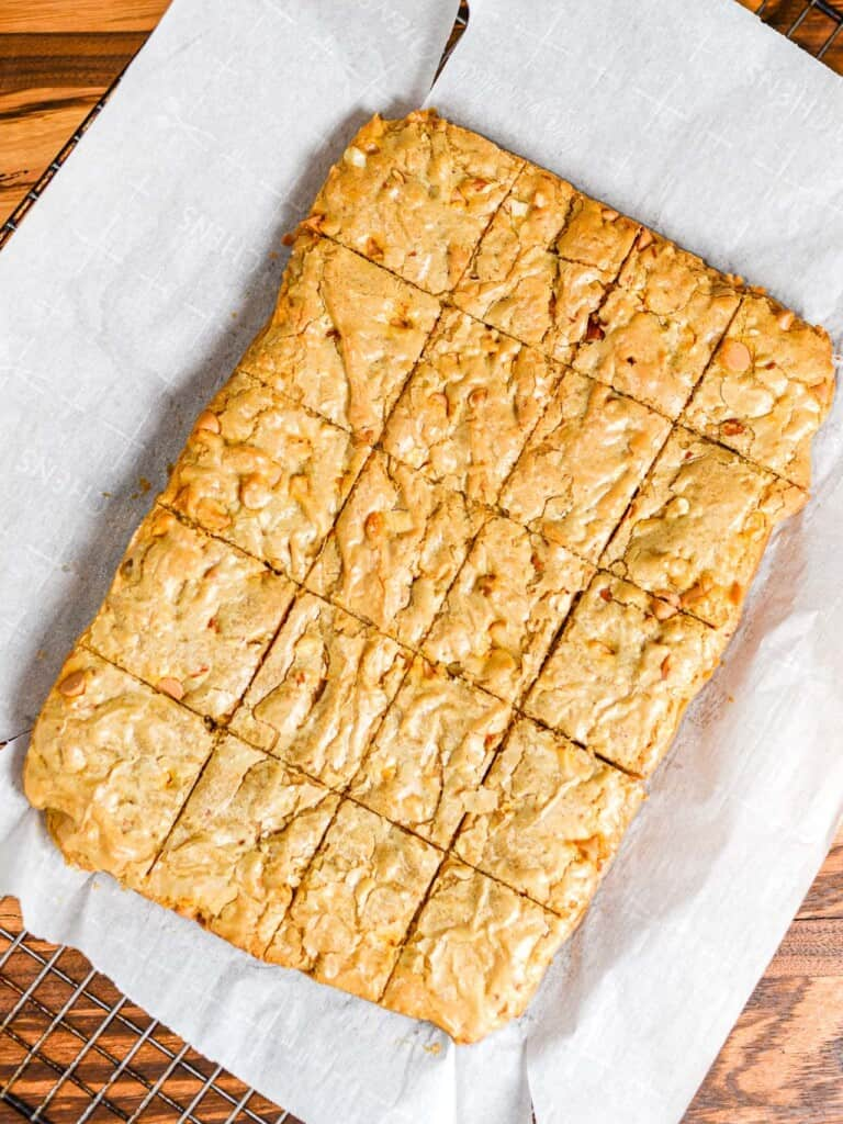 freh baked blondies cooking on a baking rack