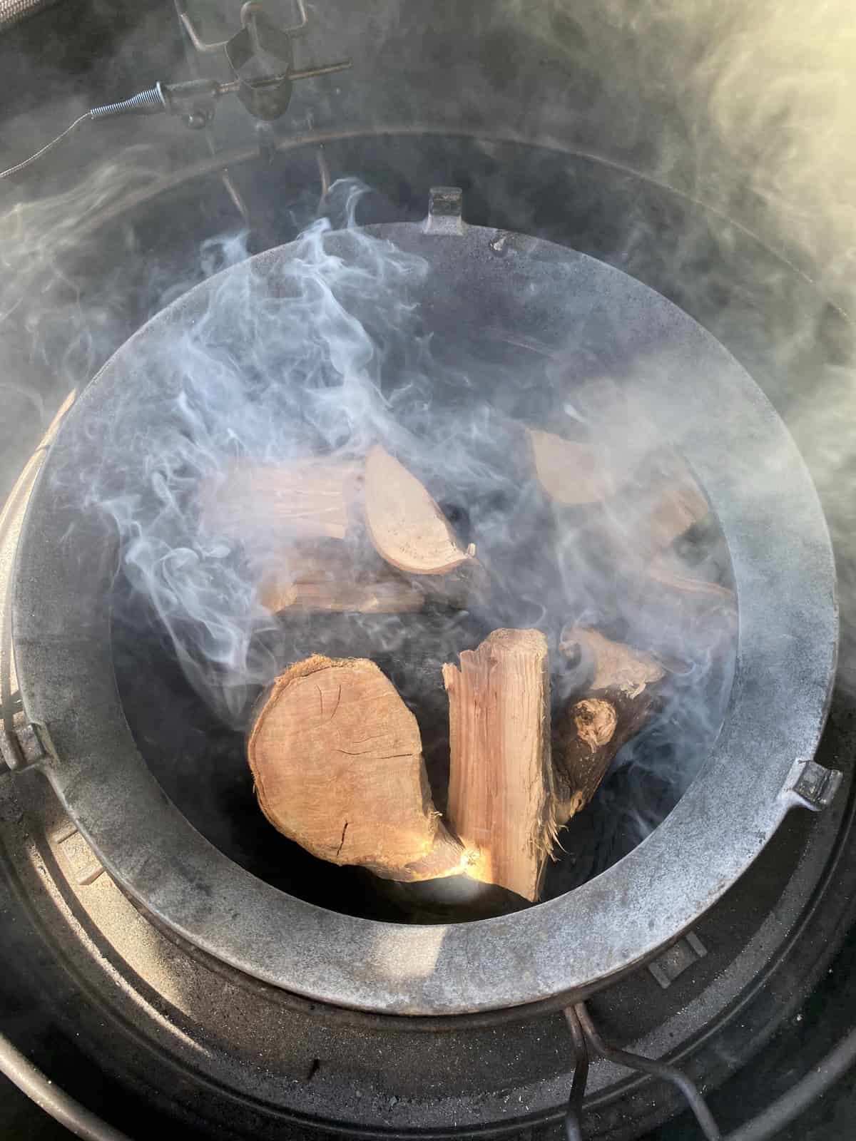 add apple and pecan wood to the belly of the ceramic grill