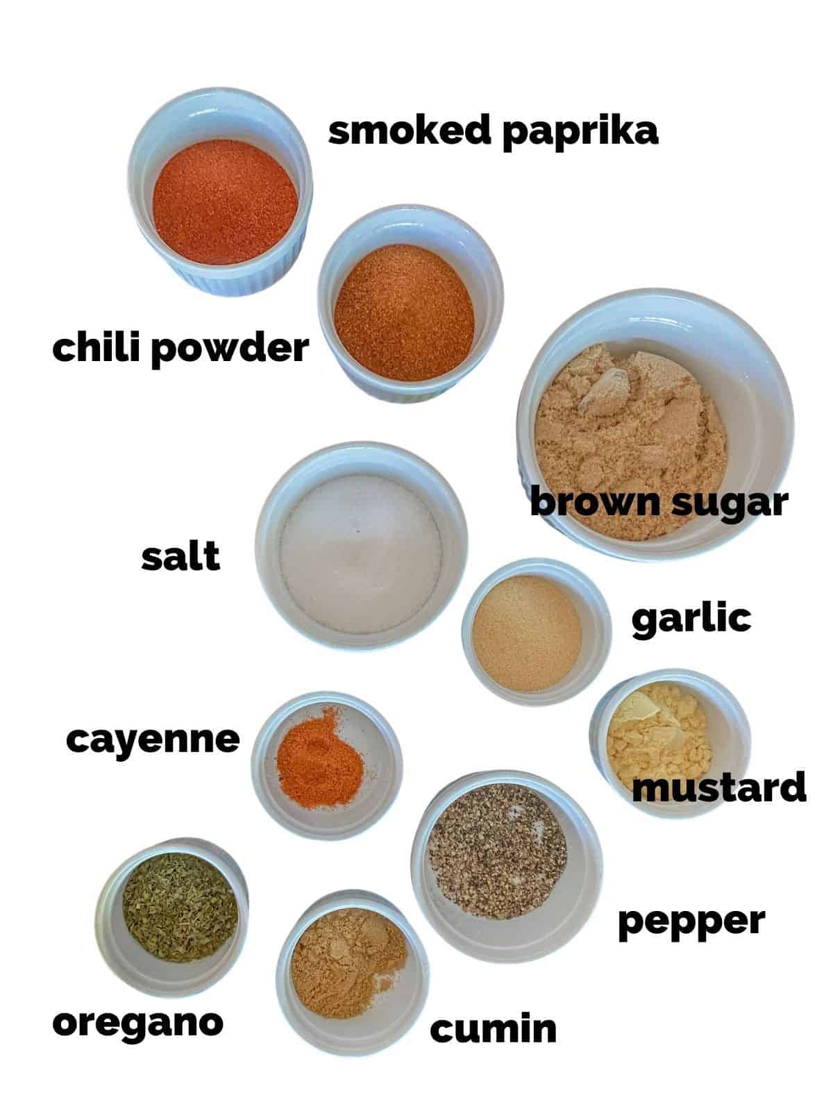 ingredients for a bbq rub