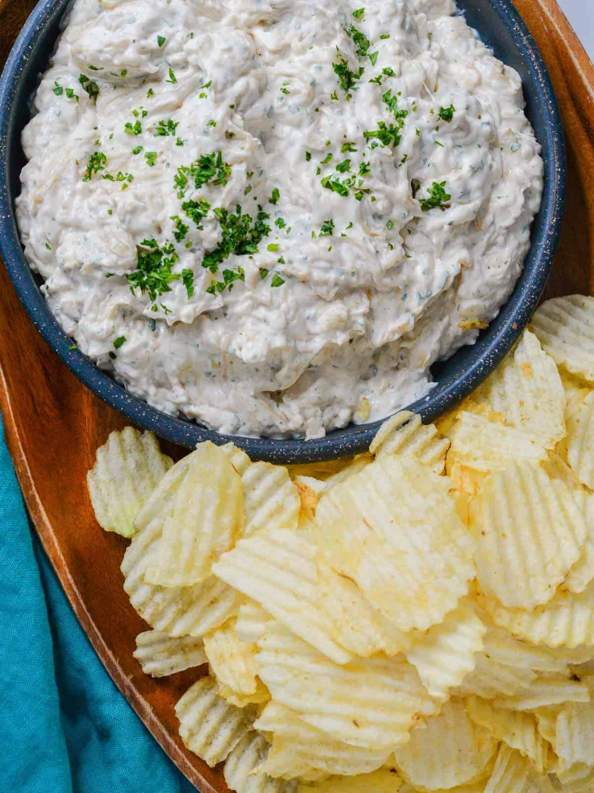 Home made french onion dip served with way lays