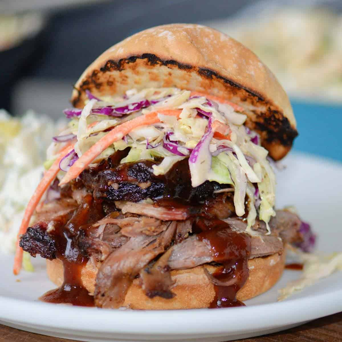 pulle pork sandwich with bbq sauce and coleslaw
