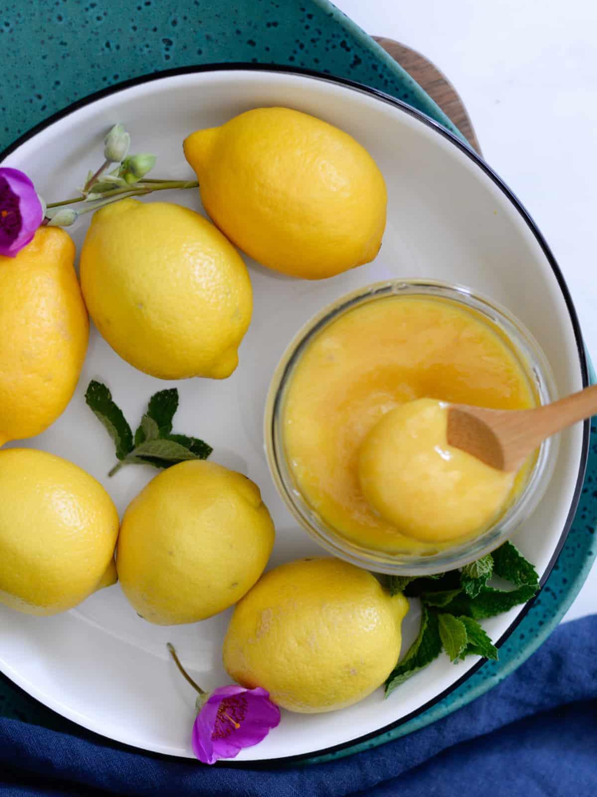 homemade meyer lemon curd with fresh lemons