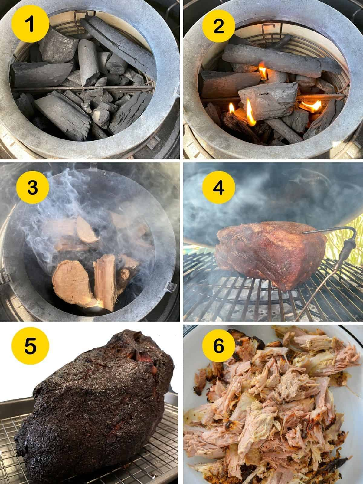 how to smoke pork butt. Step by step images.
