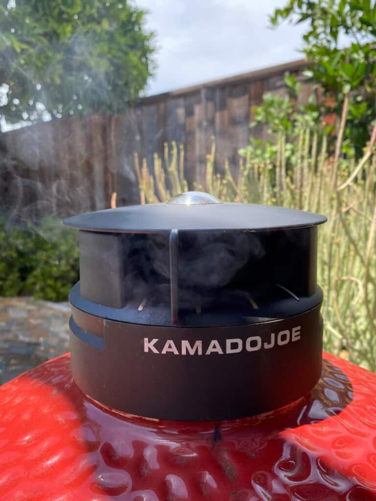 top chimney of the kamado joe grill