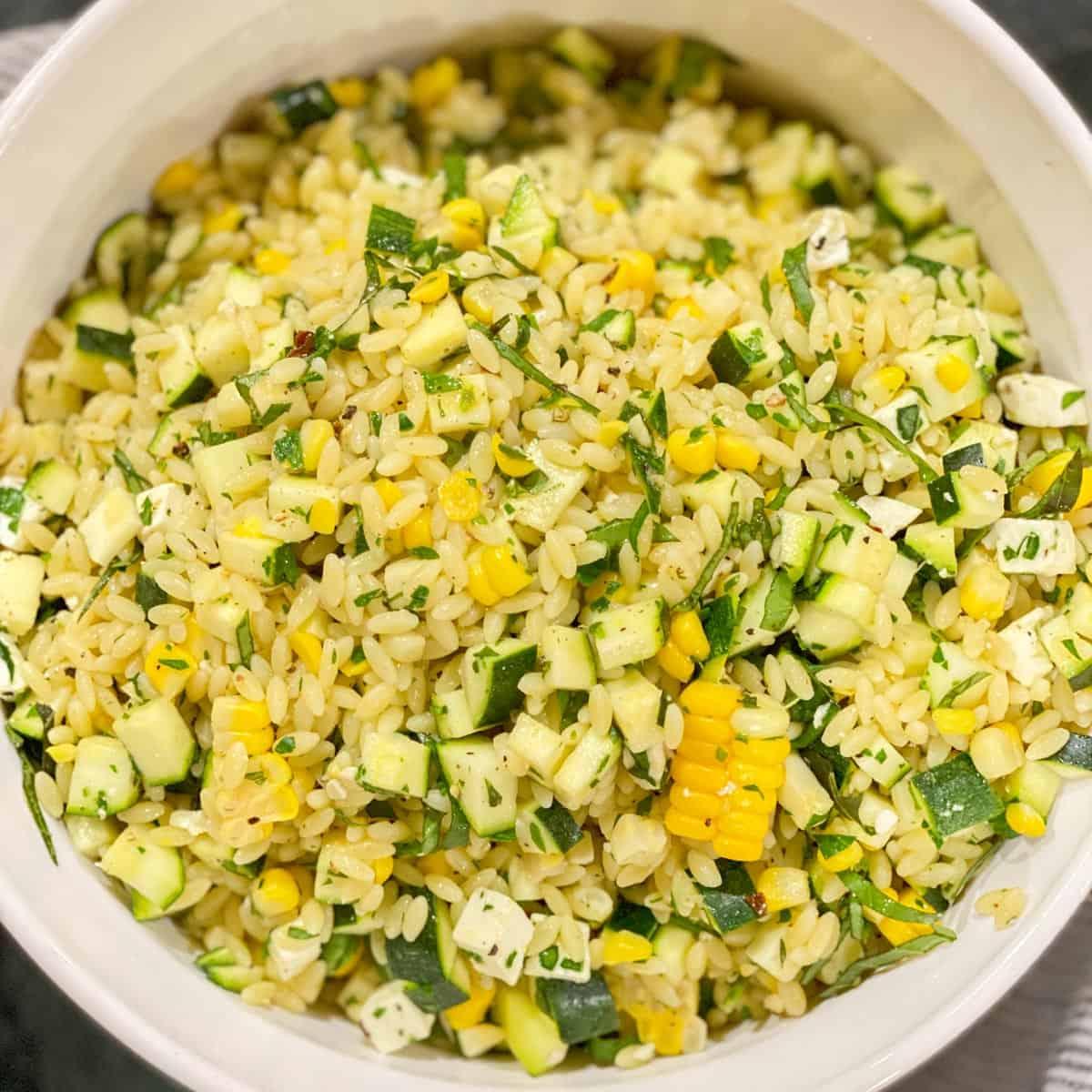 zucchini and corn orzo salad with feta